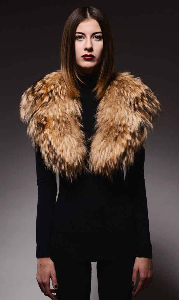caramel raccoon fur collar