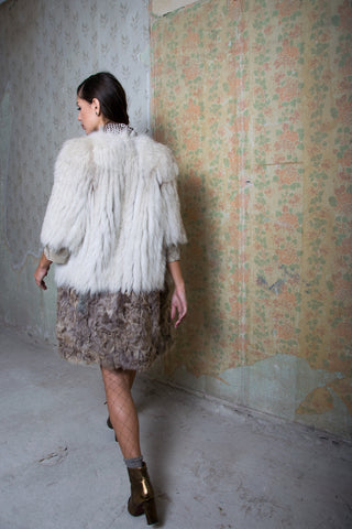 contrast fox and goat fur coat