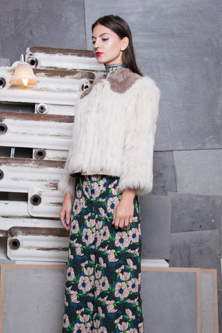 off white fox cropped jacket with shearling collar