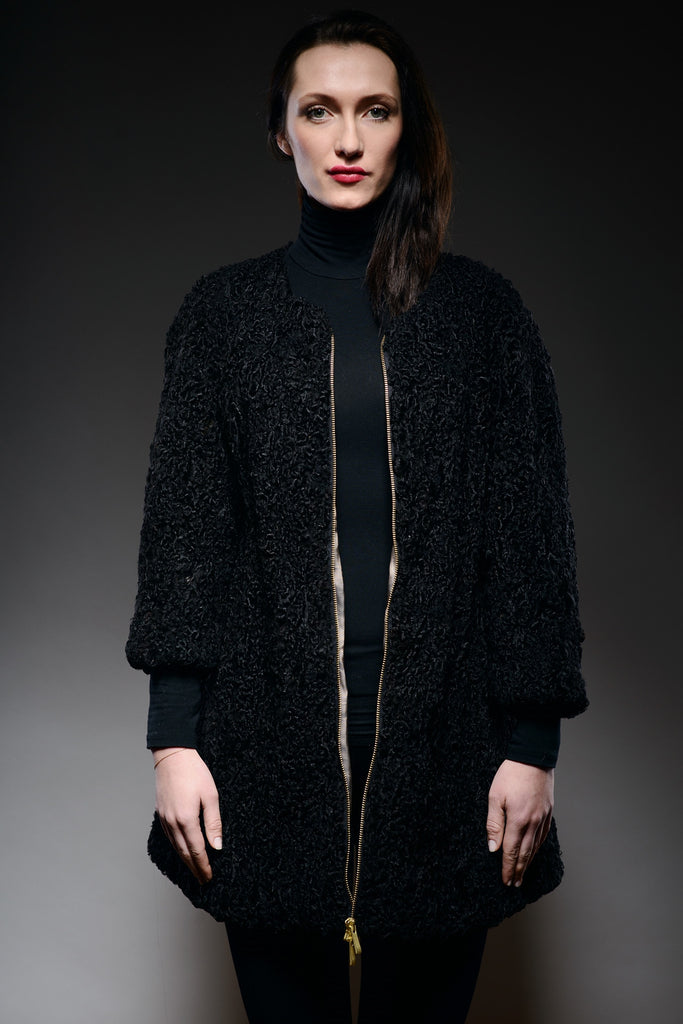 black karakul persian lamb shearling fur zip coat