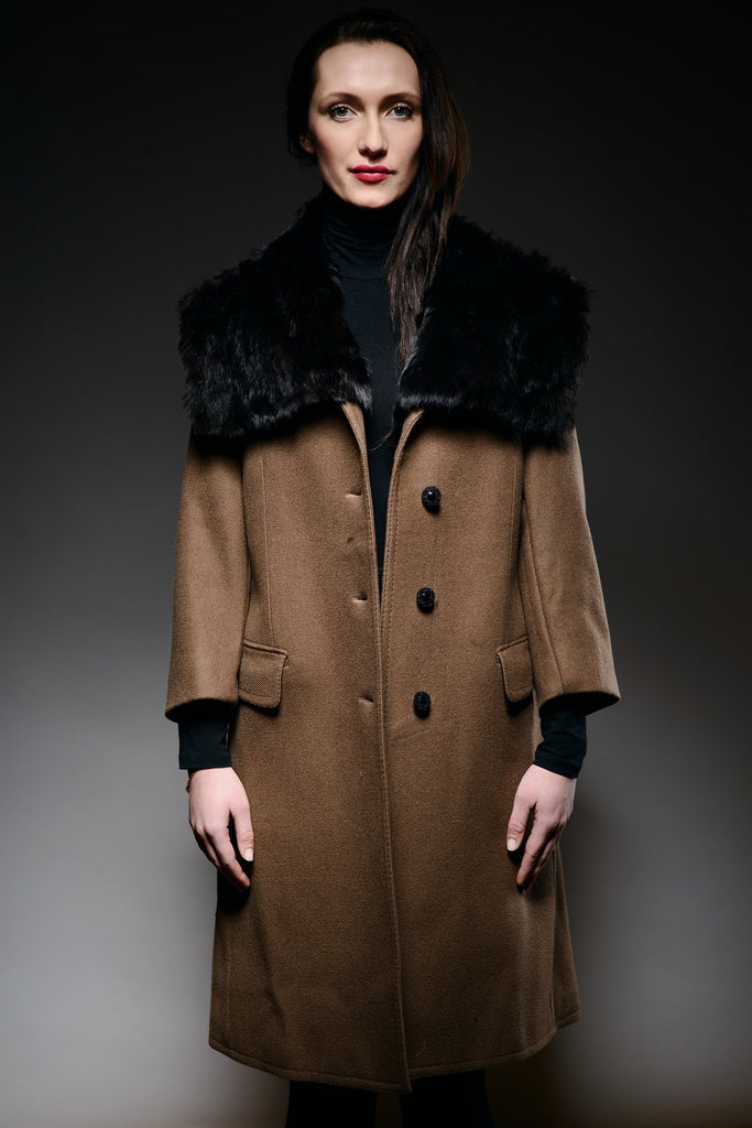 military coat with detachable black rabbit fur collar