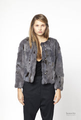 blue rabbit jacket with black and grey crops
