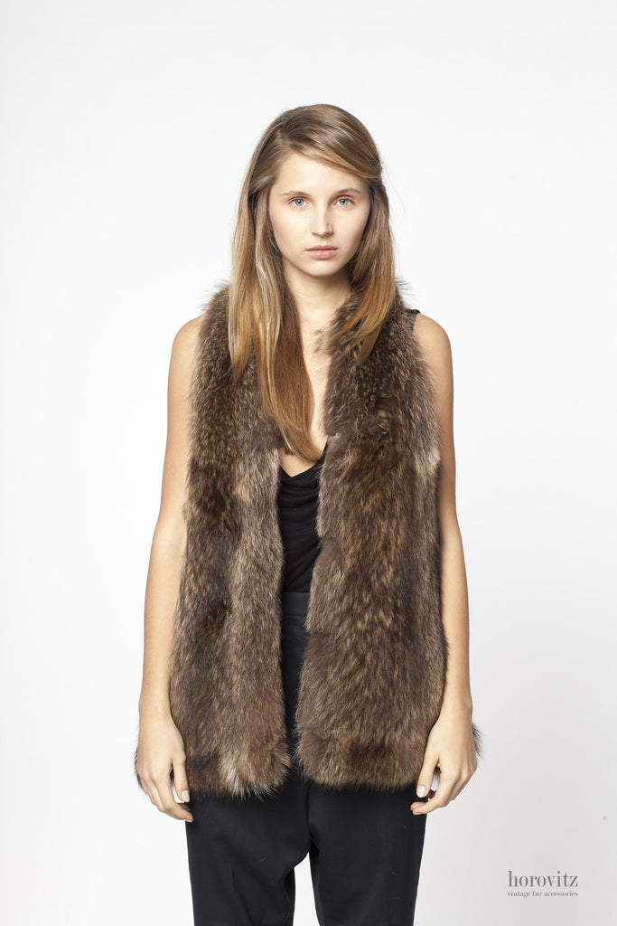 silver-brown raccoon fur vest