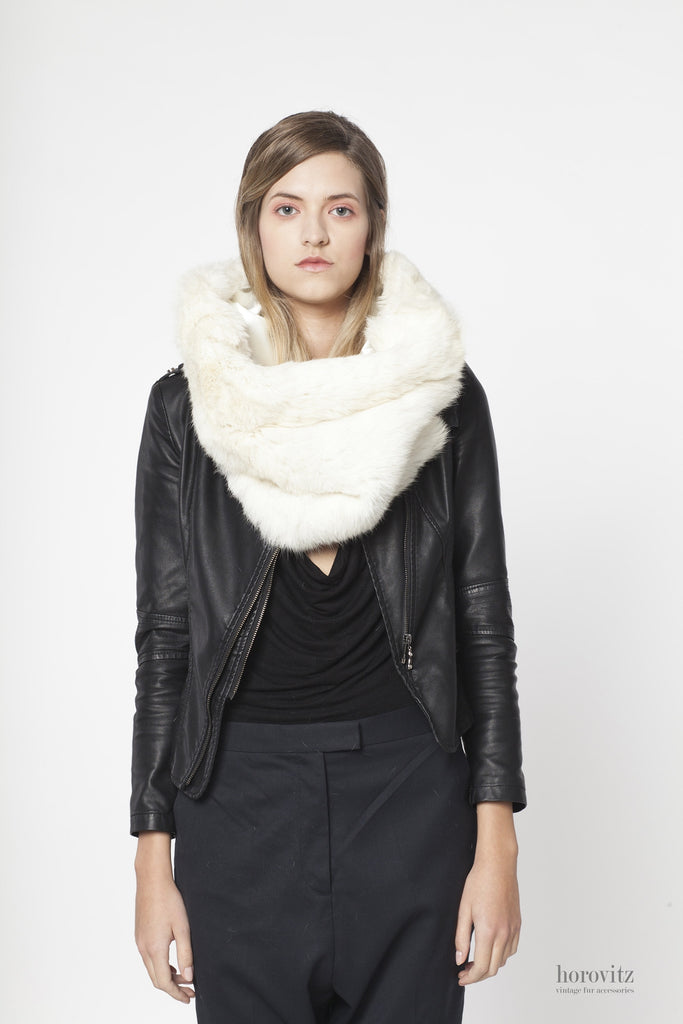 oversize creamy-white rabbit fur snood