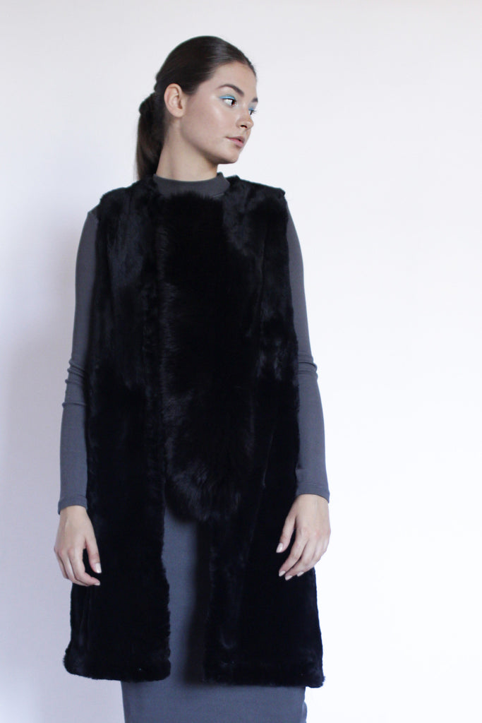 NAKANO fur vest with fox trimming