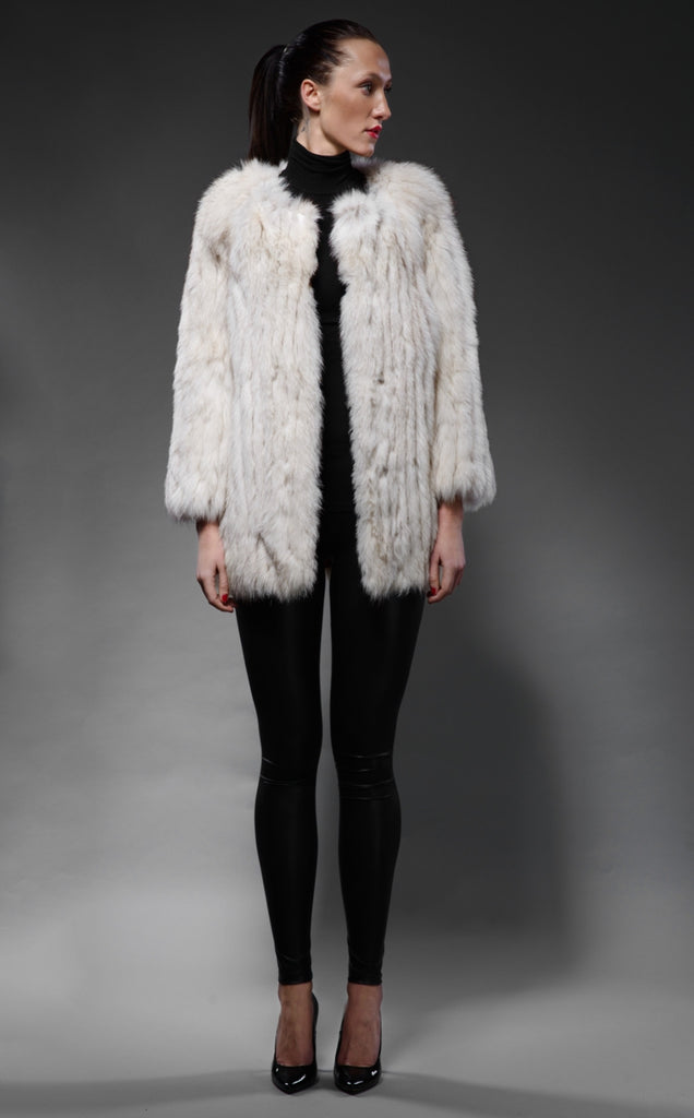 silver-white fox fur crew-neck jacket