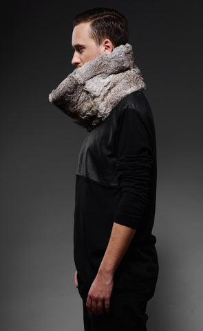 unisex silver rabbit fur snood /WIDE/