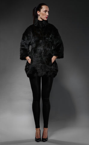 deep-black marmot fur trapezoid jacket
