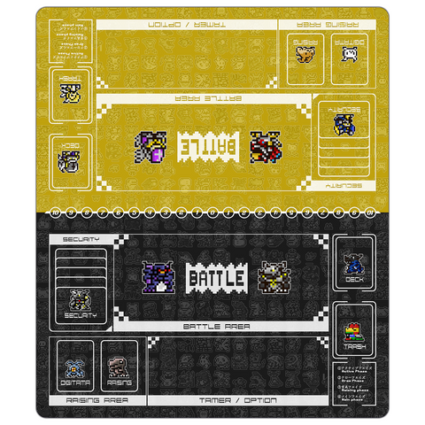 Digimon Card Game Retro Color Twin Playmat Yellow & Black [Free Shipping]
