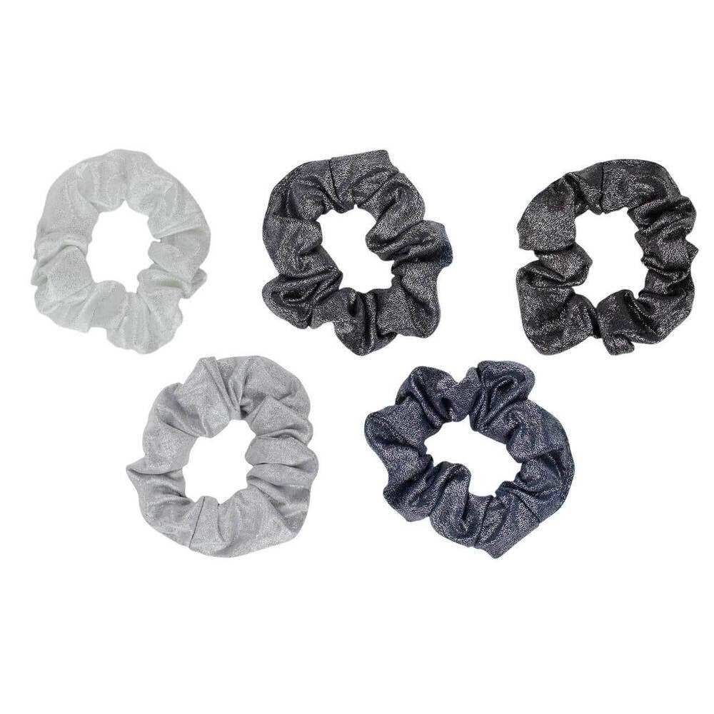 Black and Gray Metallic Scrunchies