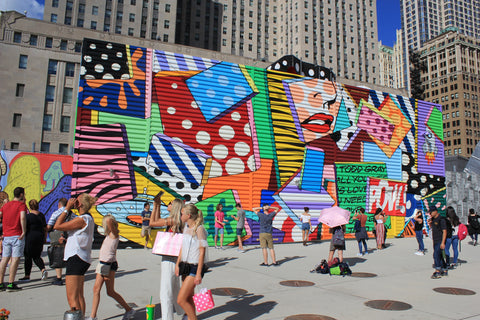 """View of """"FLABBERGAST"""" mural at the World Trade Center in New York. Painted by Contemporary Pop Artist Todd Gray."""