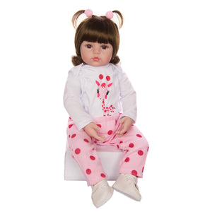Soft Silicone Baby Doll With Giraffe Playmate
