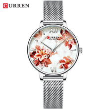 Load image into Gallery viewer, Flower Design Leather Ladies Watch