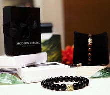 Load image into Gallery viewer, Buddha Bracelet • Black Jasper • Rich Mahogany