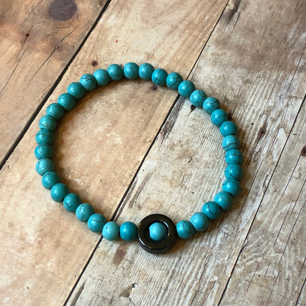 Positive Vibes - Turquoise / Solid Lava Stone  / Hematite