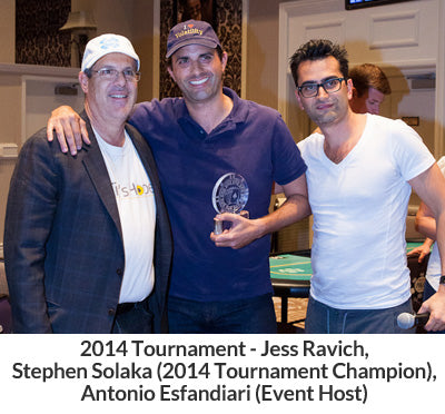 2014 Tournament - Jess Ravich, Stephen Solaka (2014 Tournament Champion) Antonio Esfandiari (Event Host)