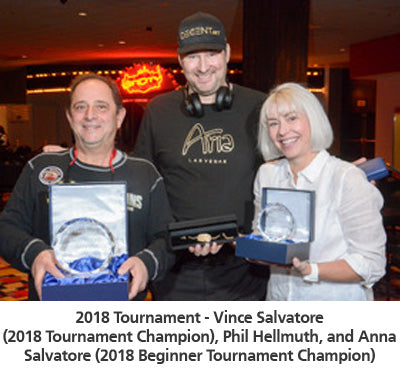 2018 Tournament - Vince Salvatore (2018 Tournament Champion), Phil Hellmuth, and Anna Salvatore (2018 Beginner Tournament Champion)