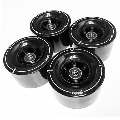 90mm 74a Revel Black Wheels - Revel Boards