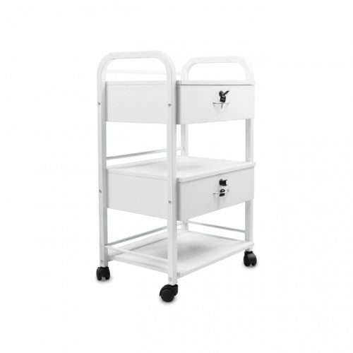 B1 Lockable Beauty Trolley 2 Drawer 3 Shelf White Laminate
