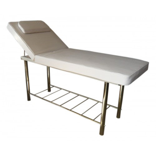 Clinton Massage Wax Bed with Rack Chrome Legs White 120 kg