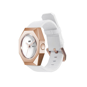 stealth mechanical leather rose gold + white angle out