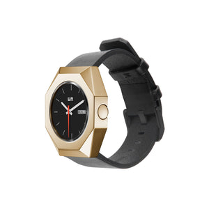 stealth mechanical leather gold + black + white angle out