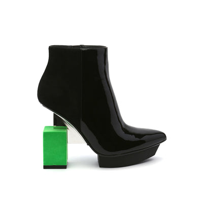 cube bootie neon green out