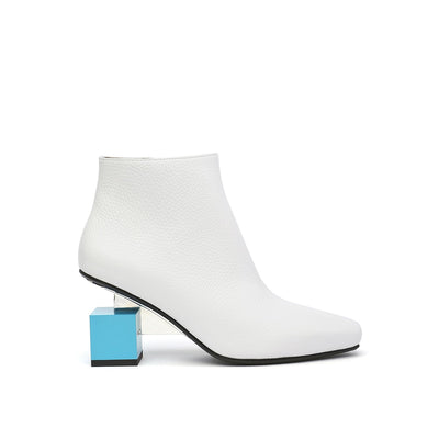 cube bootie mid white out view