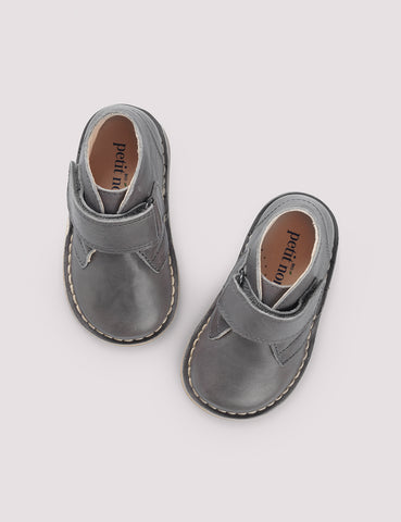 Grey Leather Desert Boots with Velcro
