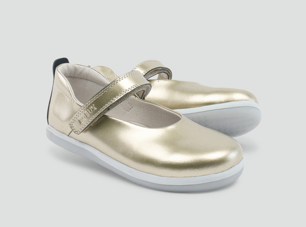 Bobux Swirl Gold Leather Ballet Pumps