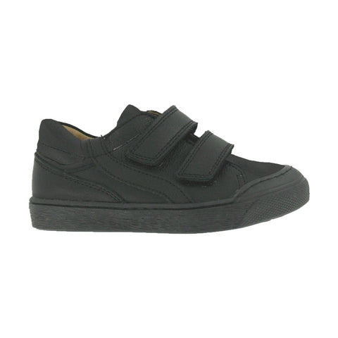 "Black Double Velcro ""DIAMOND"" Boys School Shoes"