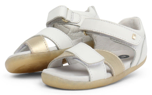 Bobux Sail White With Misty Gold Open Toe Sandals