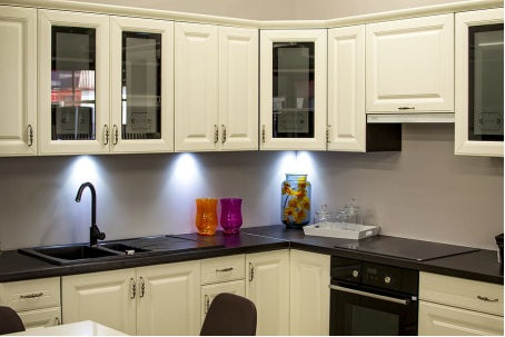 Kitchen cabinet with hardware handles