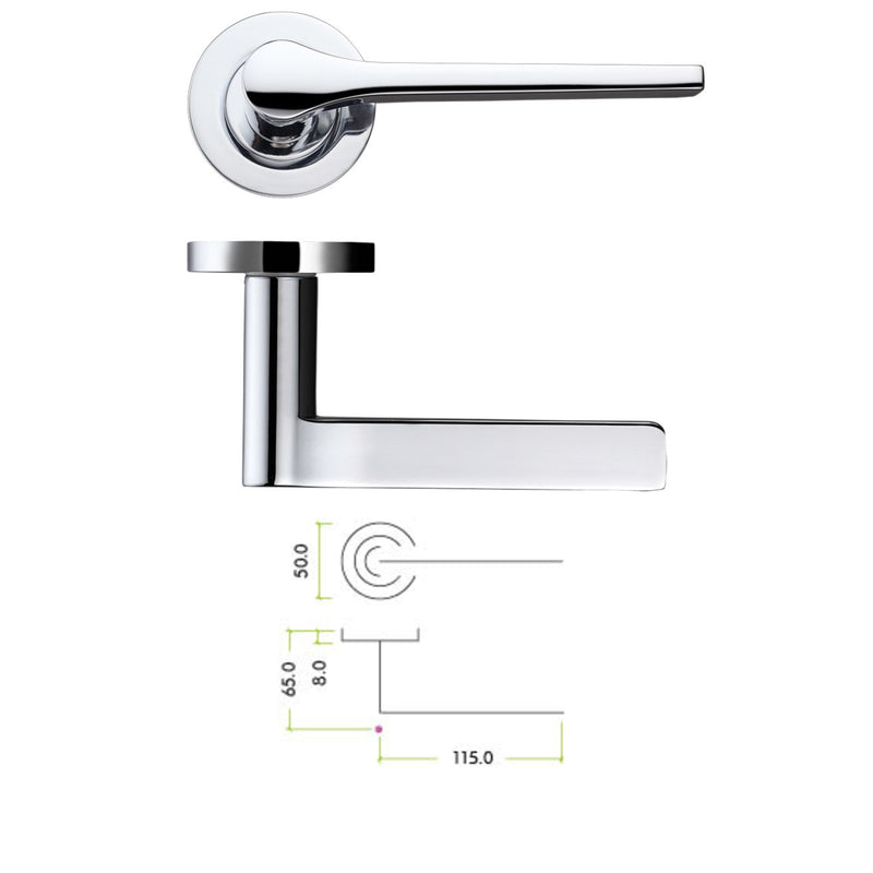 Polished Chrome Draco Door Handles On Rose - Decor And Decor