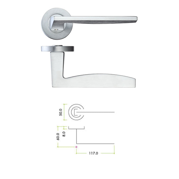 Satin Chrome Door Handle Lever On Rose - Decor And Decor