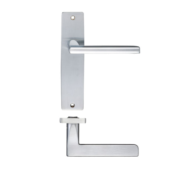 Satin Chrome Venice Door Handles On Latch Backplate - Decor And Decor