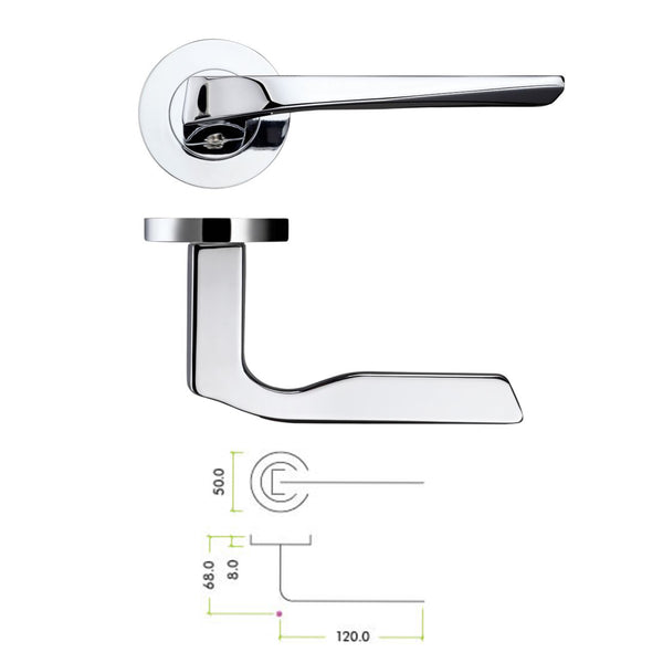 Polished Chrome Lyra lever Door Handles On Rose - Decor And Decor