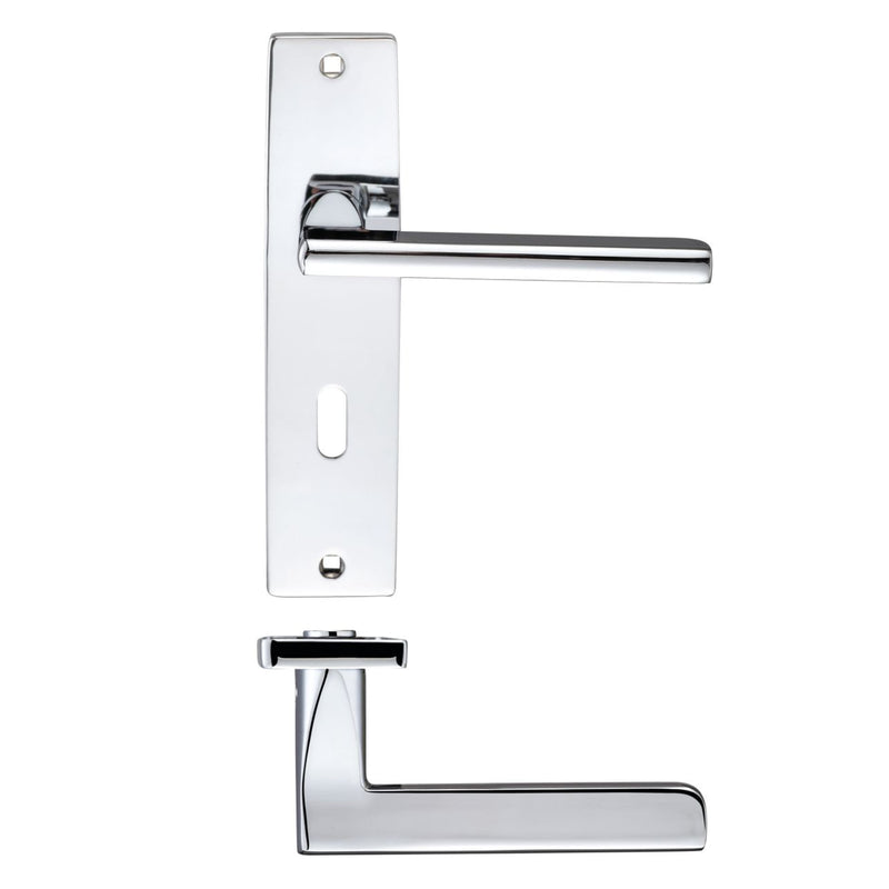 Polish Chrome Venice Door Handles On Lock Backplate - Decor And Decor
