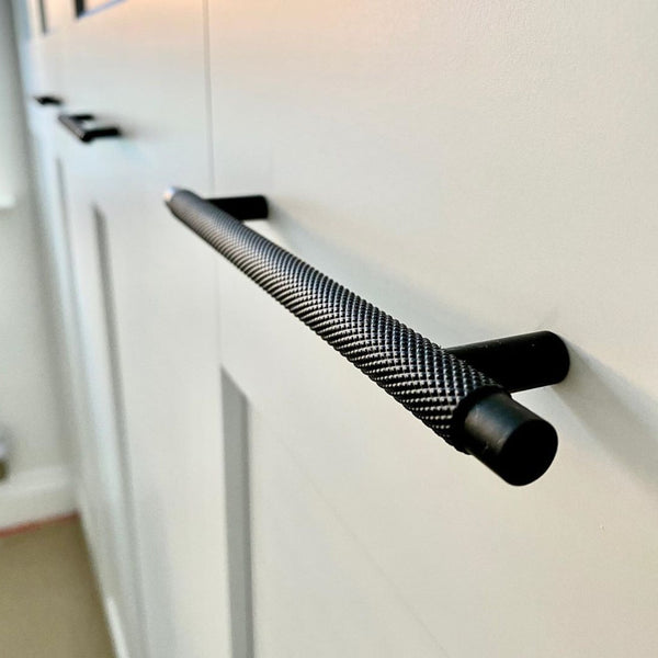 Modern Knurled Round T-bar Kitchen Cabinet Handles - Decor And Decor