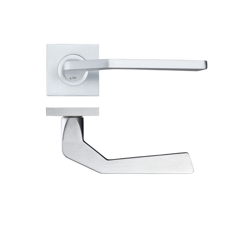 Satin Chrome Auriga Door Handles On Square Rose - Decor And Decor
