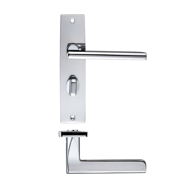 Polish Chrome Venice Door Handles On Bathroom Backplate - Decor And Decor