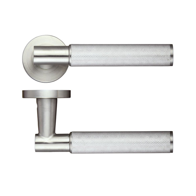 Knurled Textured Grip Door Handles On Rose - Decor And Decor