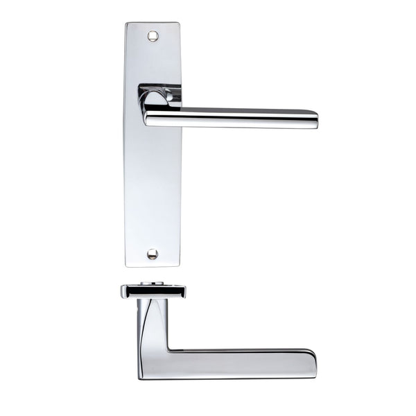Polish Chrome Venice Door Handles On Latch Backplate - Decor And Decor