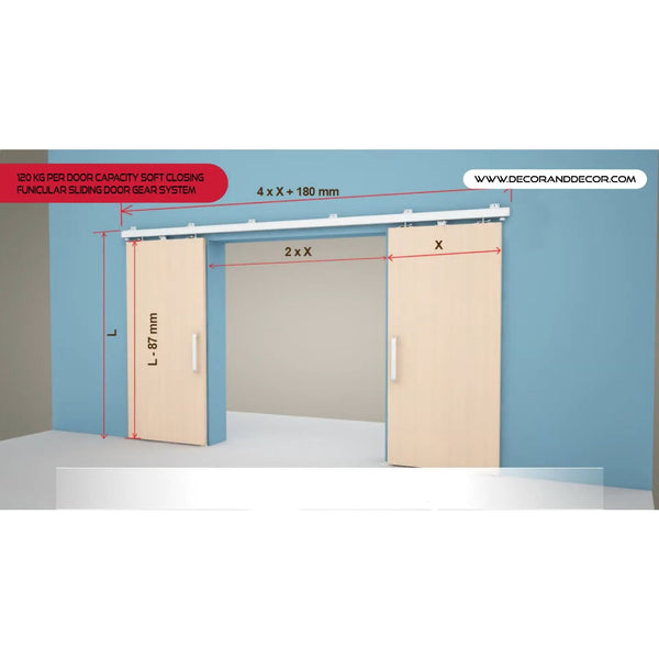 120KG Per Door Capacity Top Hung Symmetric Synchro Sliding Door - Decor And Decor