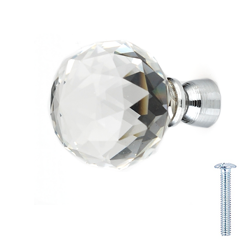 Clear Crystal Glass Diamond Cut Door Knobs 30mm - Decor And Decor
