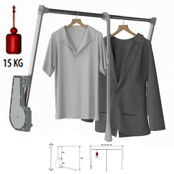 15KG Soft Close Lift / Pull Down Wardrobe Clothes Hanging Rail 750mm-1150mm - Decor And Decor