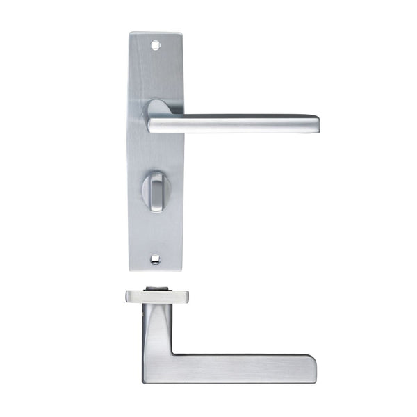 Satin Chrome Venice Door Handles On Bathroom Backplate - Decor And Decor