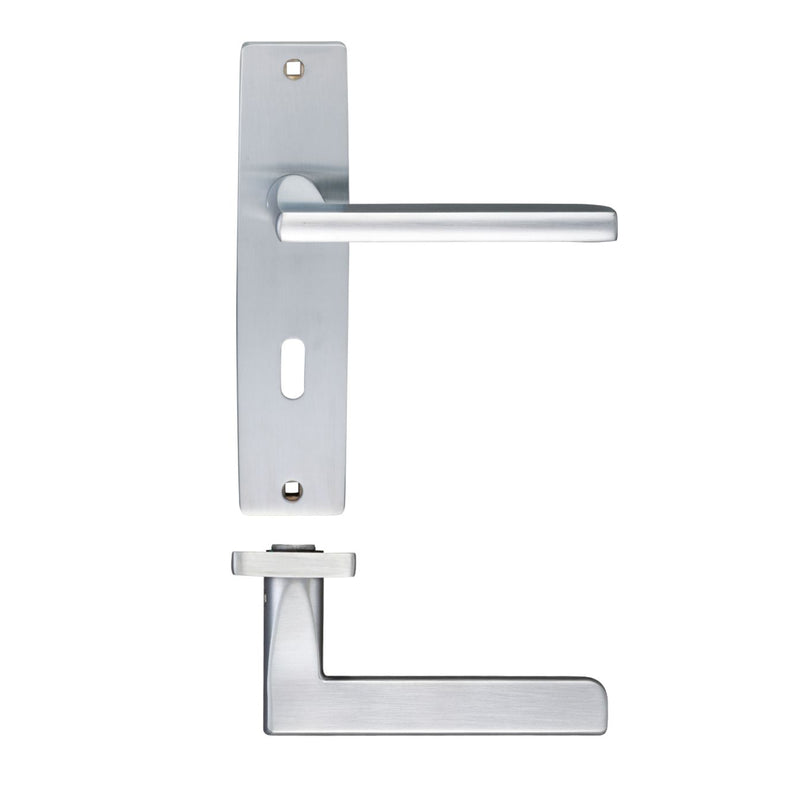Satin Chrome Venice Door Handles On Lock Backplate - Decor And Decor