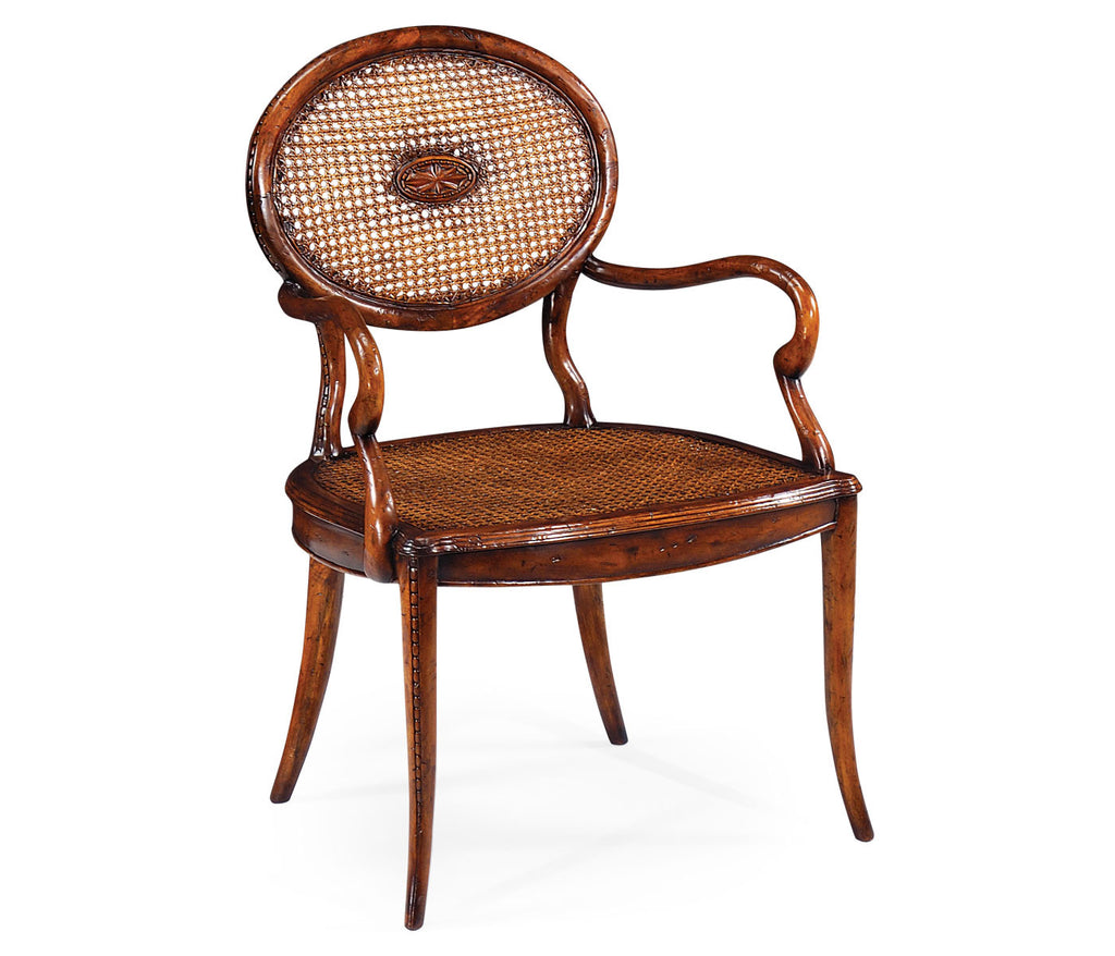 French Caned Chair With Oval Back Arm Arlen Park Home