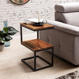 Sheesham Wood & Iron S Shape Bedside End Tables Night Stand Side Stool for Bedroom Living Room Home (Black and Teak Finish) - Furnishiaa